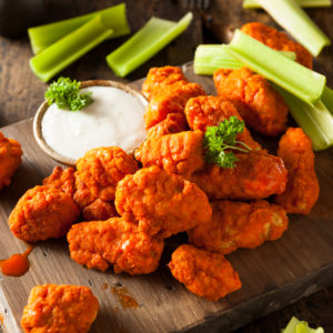 Freshly made Buffalo Wings with creamy ranch sauce.