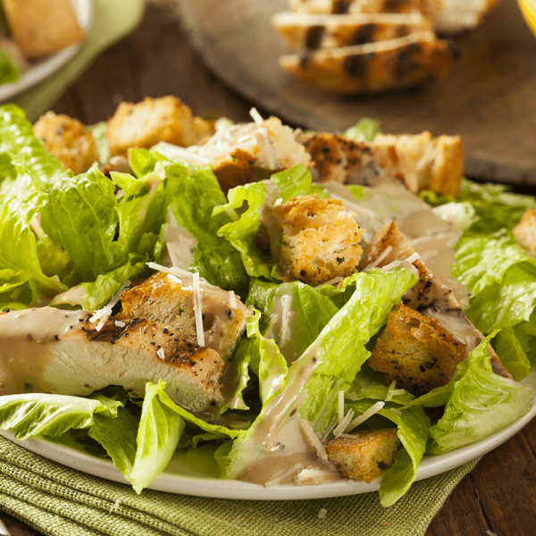 Romaine lettuce, shredded Romano cheese, garlic croutons and Caesar dressing.