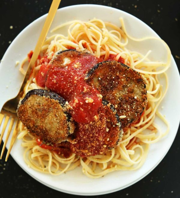 Fresh breaded eggplant with marinara sauce and mozzarella cheese. Served on a bed of spaghetti.